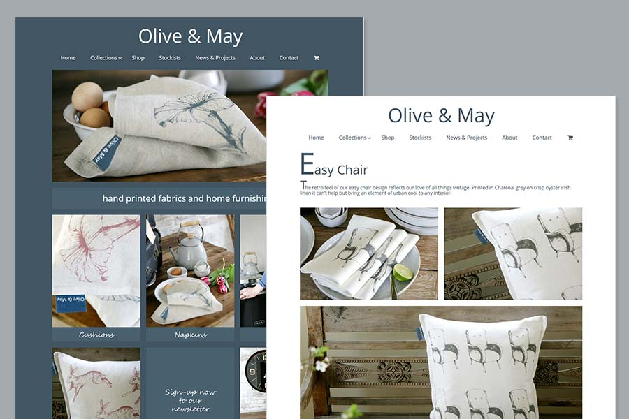 Olive and May - Hand printed furnishings